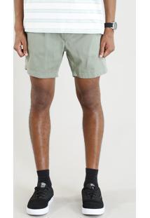 Short De Sarja Masculino Com Bolsos E Cordão Verde