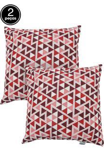 Kit 2 Capas De Almofadas Próxima 43X43 Summer Triangulo Vermelho E Algodão Liso Rosê