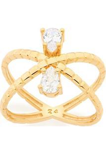 Anel Aro Duplo Formato X Zircônias Rommanel - Feminino-Dourado