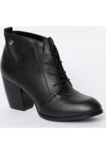 Ankle Boot Em Couro Com Amarração - Preta - Salto: 7Jorge Bischoff