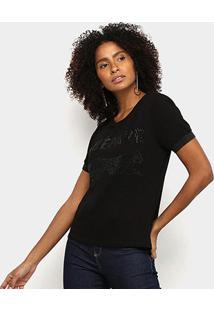 Camiseta Acostamento Fashion Feminina - Feminino-Preto