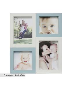 Painel Para 4 Fotos- Branco & Azul- 29X24X6Cmkapos