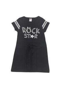 Vestido Com Amarração Na Cintura Estampa Com Glitter Rock Star