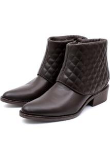 Bota Ankle Boot Couro Venetto Feminina Salto Quadrado Lapela Matelassê Café - Tricae