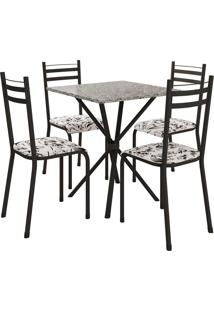 Conjunto De Mesa 70Cm 4 Cadeiras Lyon Preto Fosco Fabone Móveis Tubulares