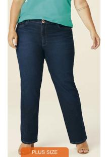 Calça Azul Escuro Reta Jeans Feminina Plus