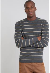 Suéter Masculino Comfort Fit Em Tricô Listrado Cinza Escuro