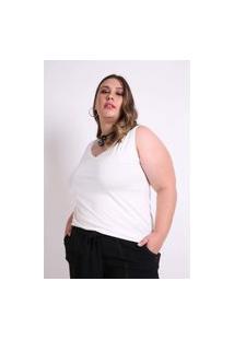 Regata Decote V Plus Size Off White Regata Decote V Plus Size Off White G Kaue Plus Size