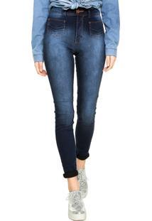 Calça Jeans Biotipo Super Skinny Corpete Azul-Marinho