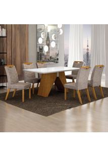 Conjunto Sala De Jantar Mesa Tampo De Vidro Branco 6 Cadeiras Verona Leifer Imbuia Mel/Off White/Pena Caramelo
