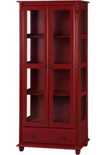 Cristaleira 2 Portas + 3 Prateleiras + 1 Gaveta Laterais Com Vidro - Tommy Design