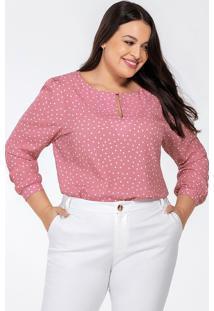 Blusa Feminina Plus Size Rosa De Poá Kerolyn