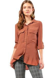 Camisa Crepe Mx Fashion Luíza Marrom