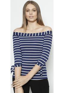 Blusa Ciganinha Listrada- Azul Marinho & Branca- Lukluktal