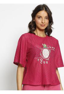 Blusa Com Vazados & Bordado - Rosa & Verde - Zincozinco