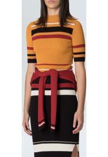 Blusa Fem Mc Stripes Knit-Mostarda Preto Carmim - P