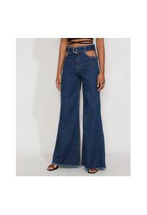 Calça Jeans Feminina Pantalona Wide Cintura Super Alta Com Vazado E Cinto Azul Escuro