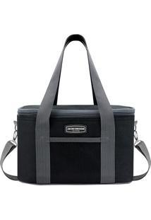 Bolsa Térmica Com Bolso- Preta & Cinza- 28X17X18Cmjacki Design