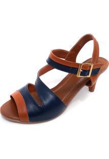 e0f9bfdc4 ... Sandália Amora Calçados De Salto Em Couro Ive Azul Marinho Com Caramelo
