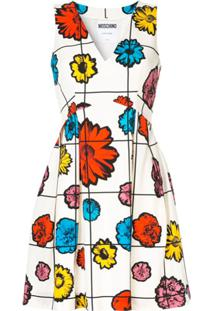 Moschino Floral Grid Print Mini Dress - Branco