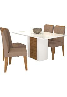 Sala De Jantar Rafaela 130 Cm Com 4 Cadeiras Branco/Savana Savana/Branco