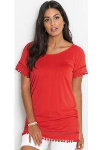 Blusa Raglan Com Renda Vermelha