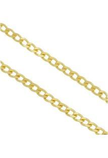 Corrente Elo Grumet 4Mm Tudo Jóias Folheado A Ouro 18K Com 70Cm - Masculino-Dourado