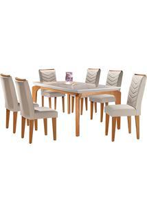 Conjunto De Mesa Para Sala De Jantar Tampo De Vidro Com 6 Cadeiras Mel-Rufato - Veludo Creme / Off White / Imbuia