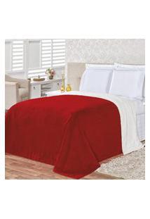 Cobertor Queen 2,40M X 2,20M Manta Microfibra E Sherpa Com Toque De Lá De Carneiro Alaska - Vermelho