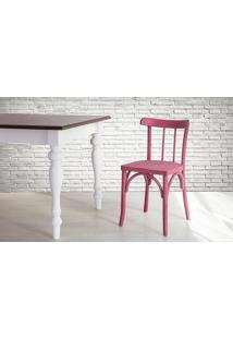 Cadeira De Madeira Para Churrasqueira Torneada Com Encosto E Assento Anatômico Lilás Justine - 43X47,5X78,5 Cm