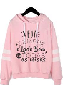 Blusa Moletom Feminino Iza Tonelli Tumblr Flanelado Rosa - Tricae