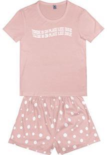Pijama Hering Curto Feminino - Feminino-Rosa