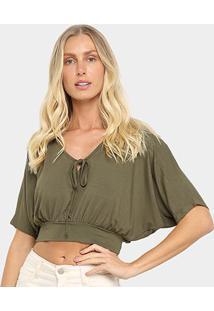 Blusa Top Cropped Mercatto Básica Feminina - Feminino-Verde Escuro