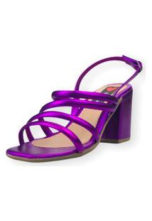 Sandália Salto Bloco Love Shoes Tiras Fashion Metalizado Roxo