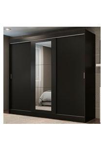 Guarda-Roupa Casal Madesa Kansas 3 Portas De Correr Com Espelho 3 Gavetas Preto Cor:Preto