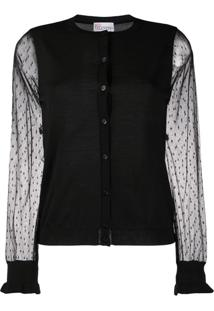 Red Valentino Tulle Sleeves Cardigan - Preto