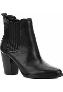 Bota Cano Curto Shoestock Couro Elástico Feminina - Feminino-Preto