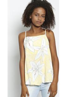 Blusa Com Recorte Vazado - Amarela & Branca - Enfimenfim