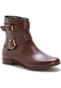 Bota Casual Couro Dia A Dia Doc Shoes Feminina - Feminino-Marrom
