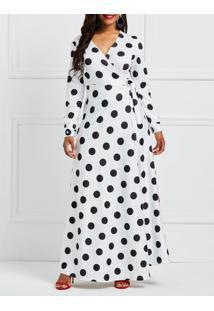 Vestido Longo Polka Dots Manga Longa Com Laço - Branco Xgg