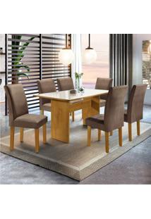 Sala De Jantar Completa Com Mesa E 6 Cadeiras Madri Siena Móveis Ypê/Suede Animale Marrom