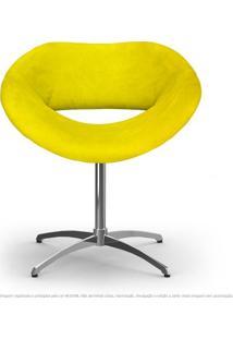 Cadeira Beijo Amarela Poltrona Decorativa Com Base Giratória