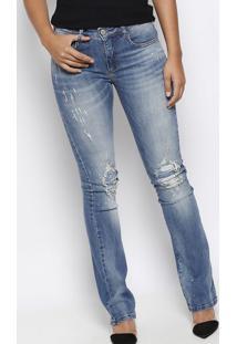 Jeans Boot Cut Com Paint Splatter- Azul & Dourado- Fforum