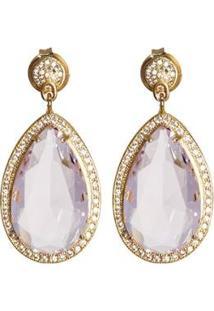 Brinco Kumbayá Gota Banho De Ouro 18K Cristal Com Zirconias De Cristal Feminino - Feminino-Rosa