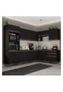 Cozinha Completa De Canto Madesa Reims 462001 Com Armário E Balcão - Preto