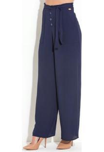 Calça Quintess Azul Com Forro Em Shorts