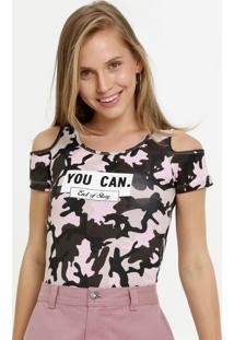 Body Feminino Open Shoulder Estampa Camuflada