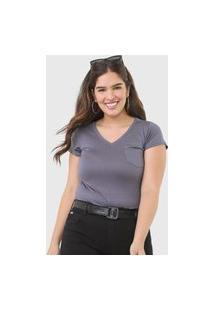 Camiseta Polo Wear Bolso Cinza
