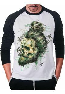 Camiseta Raglan Artseries Caveira Barba Masculina - Masculino