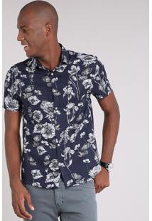 Camisa Masculina Estampada Floral Manga Curta Azul Marinho